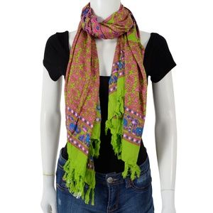 Accessories - Pink and Lime Green Rayon Pareo (70x48 in) Scarf